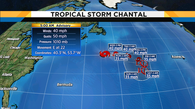 Tropical Storm Chantal forms over far north Atlantic