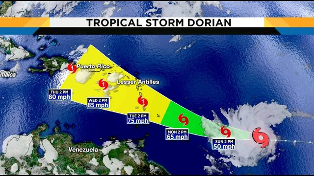 Tropical Storm Dorian forms, could become a hurricane