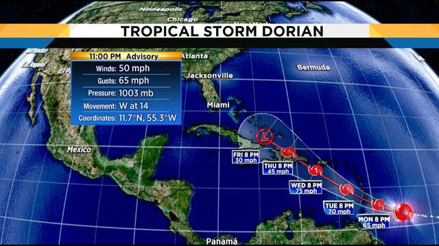 Tropical Storm Dorian aims at Windward Islands