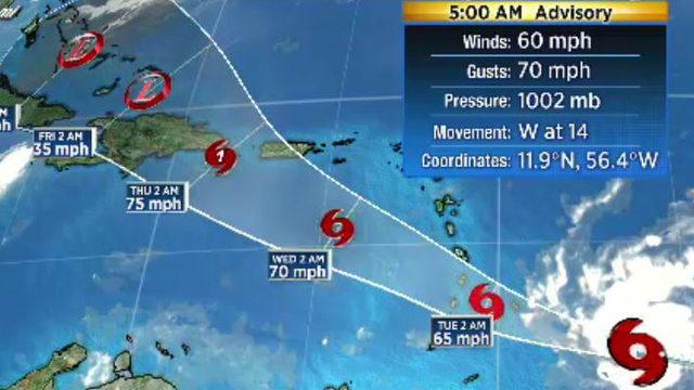 Tropical Storm Dorian aims at Windward Islands