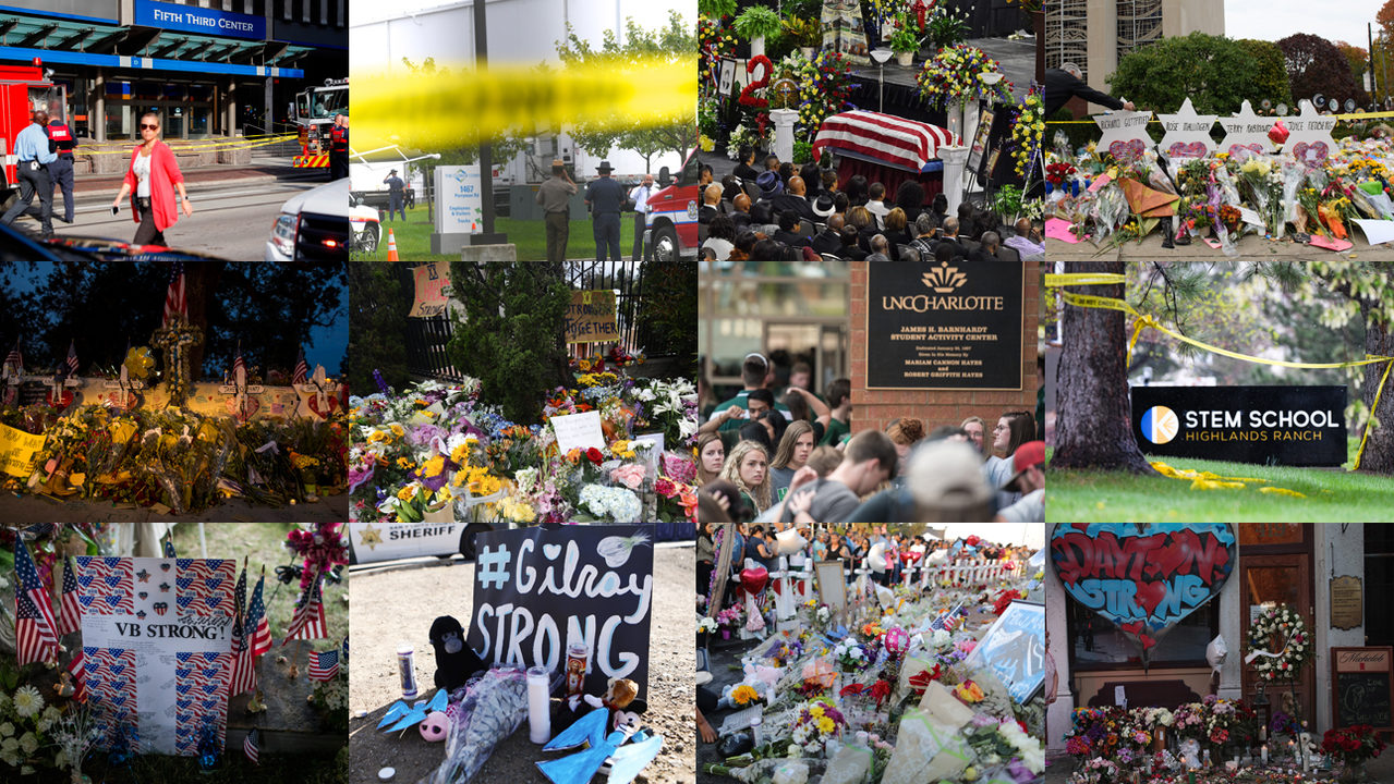How many high-profile mass shootings in 1 year since Landing attack?
