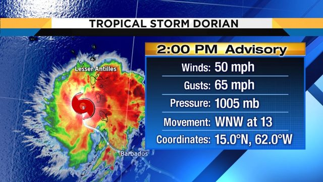 Tropical Storm Dorian shifts slightly north