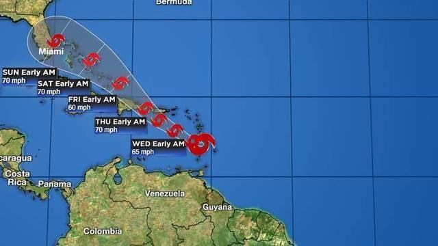 Tropical Storm Dorian moves across St. Lucia into Caribbean Sea