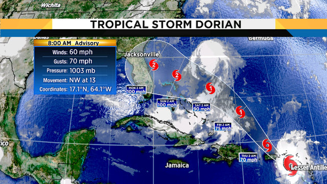 Tropical Storm Dorian's track shifts closer to Jacksonville