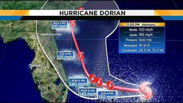 Center of dangerous Dorian may not reach Florida coast