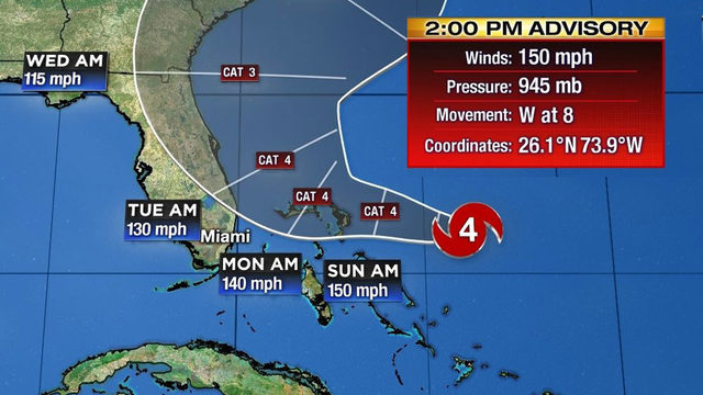 Center of dangerous Dorian may not reach Florida coast