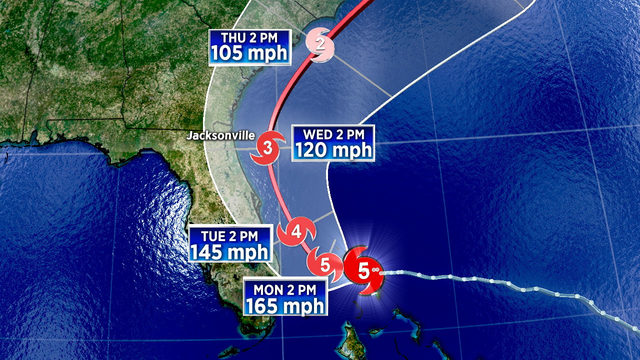 Part of Florida's coast under Hurricane Warning as Dorian remains Cat 5