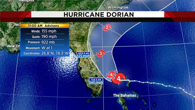 Hurricane Dorian weakens but still a major storm aiming for Florida's coast
