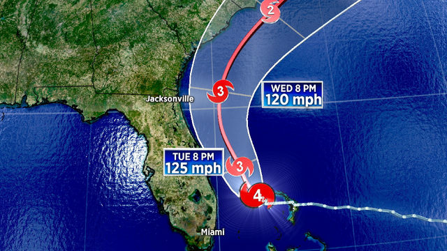 Hurricane Dorian's cone shifts east of Jacksonville's coast