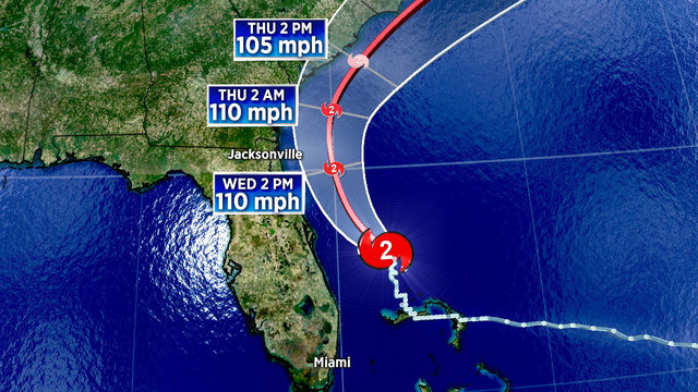 Category 2 Hurricane Dorian lashing Florida's East Coast