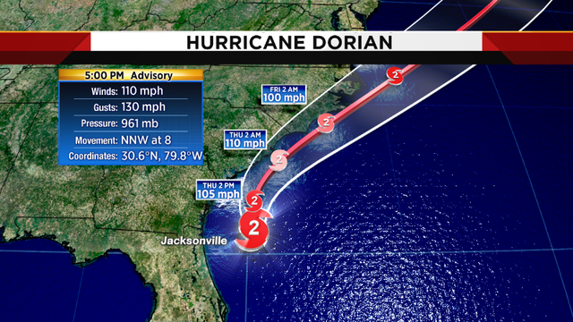 Hurricane Dorian enters Georgia coastal waters