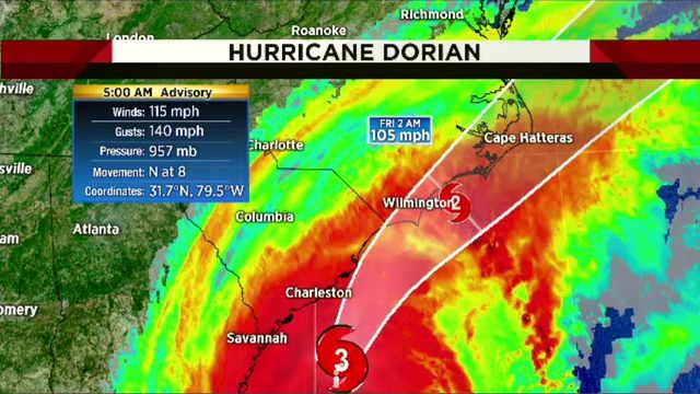 Hurricane Dorian strengthens to Category 3, creeping up SE coast
