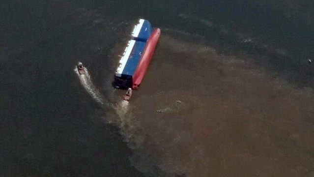 Capsized cargo ship caused leak, environmental concerns