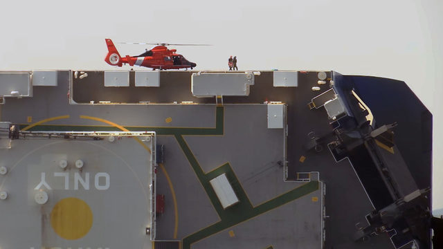 Coast Guard in contact with crew trapped on capsized ship near Brunswick