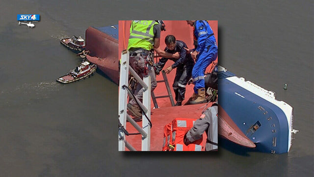 3 of 4 crew members trapped in capsized ship near Brunswick rescued