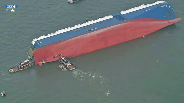 All 4 crew members trapped in capsized ship near Brunswick rescued