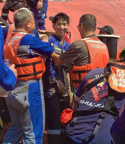 Coast Guard photo of rescued crew member