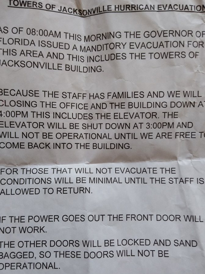 Towers of Jacksonville hurricane evacuation notice