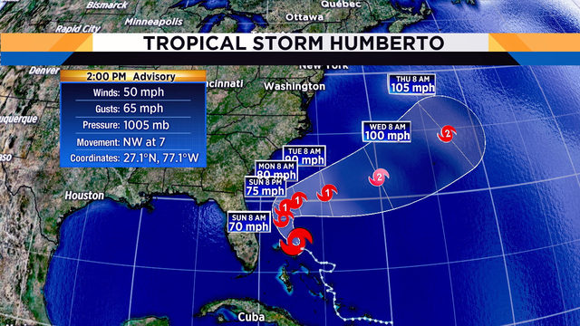 Tropical Storm Humberto moving 7mph, not threatening Florida's coast
