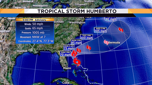 Tropical Storm Humberto expected to cause dangerous rip currents