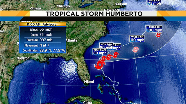 Tropical Storm Humberto getting stronger, causing rip currents