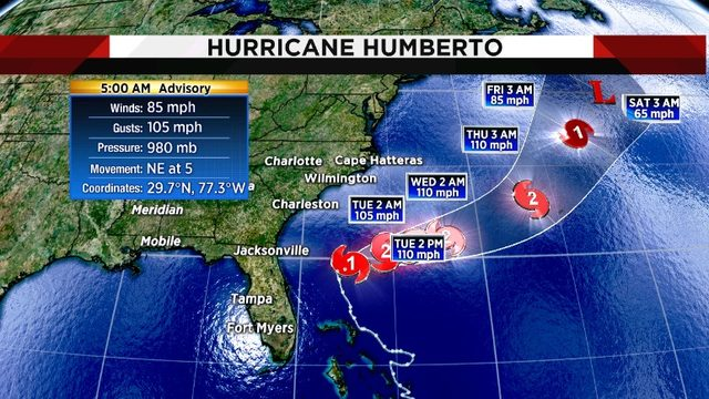 Hurricane Humberto turns away from Jacksonville, leaves rip currents and…