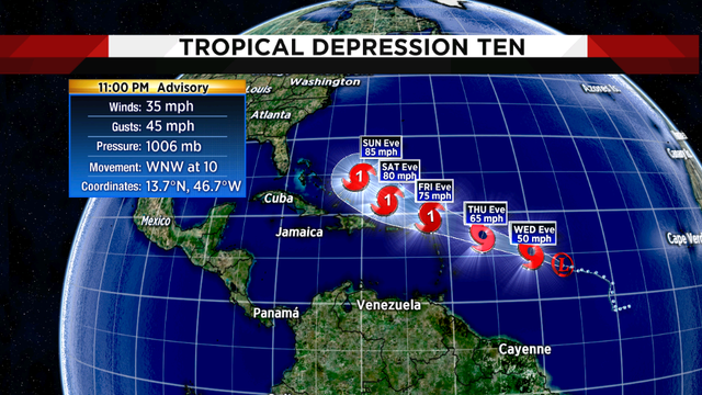 New depression in Atlantic expected to become tropical storm Wednesday