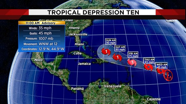 New depression in Atlantic expected to become tropical storm later today