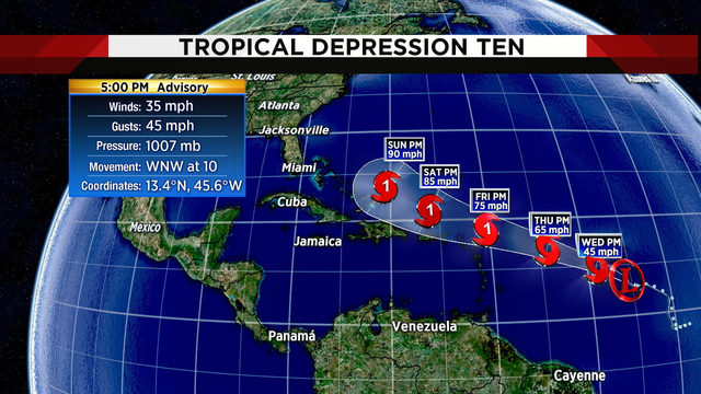 New depression in Atlantic expected to become tropical storm later tonight