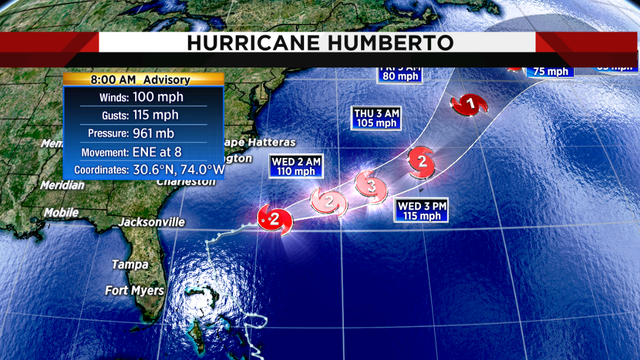Humberto strengthens to Category 2 hurricane
