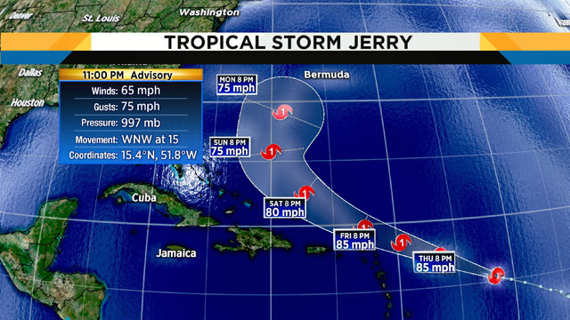 Tropical Storm Jerry will become hurricane