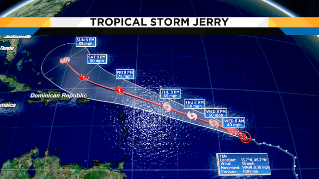 Tropical Storm Jerry will become hurricane in Caribbean