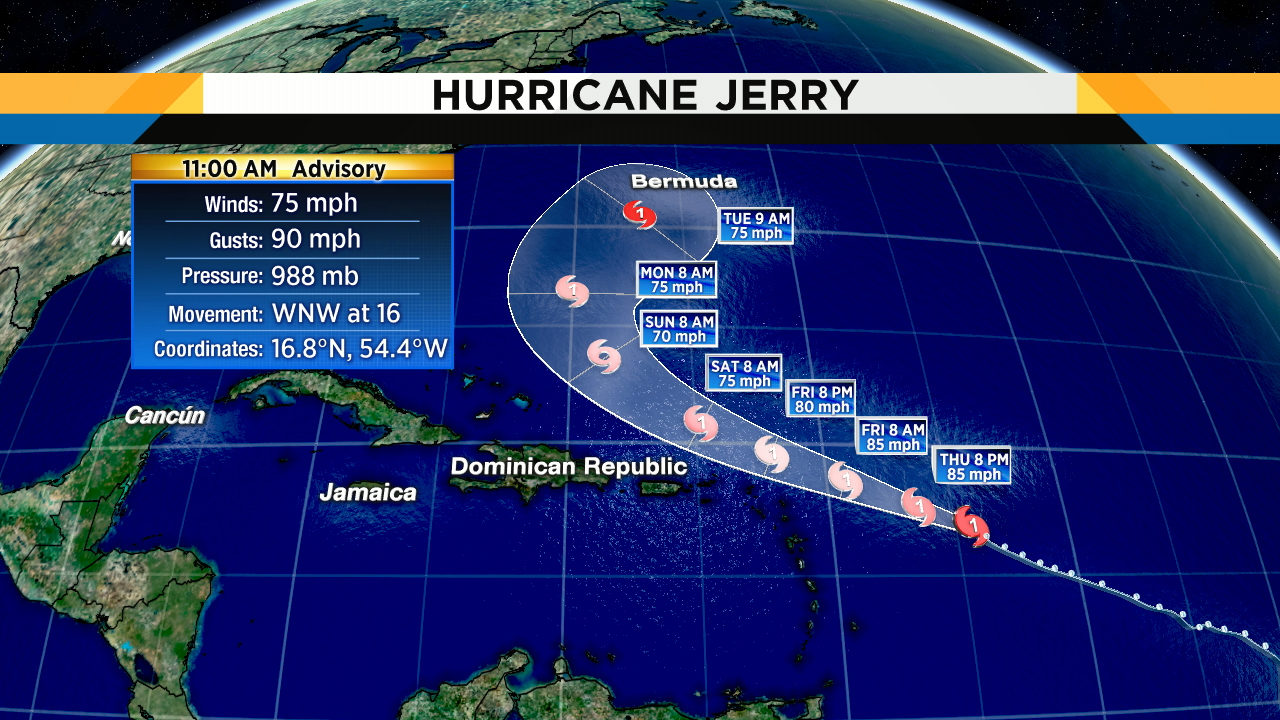 Jerry becomes a hurricane as it nears Caribbean