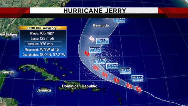 Hurricane Jerry strengthens to Category 2
