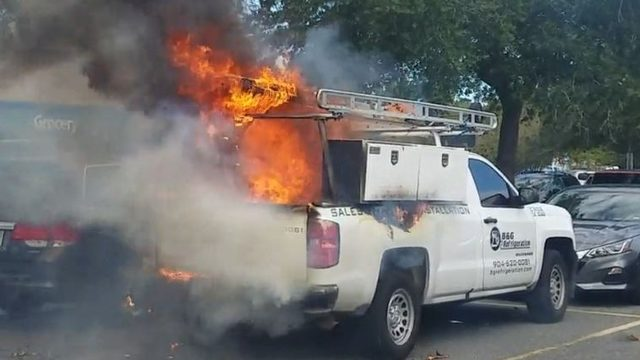 Truck bursts into flames in St. Augustine