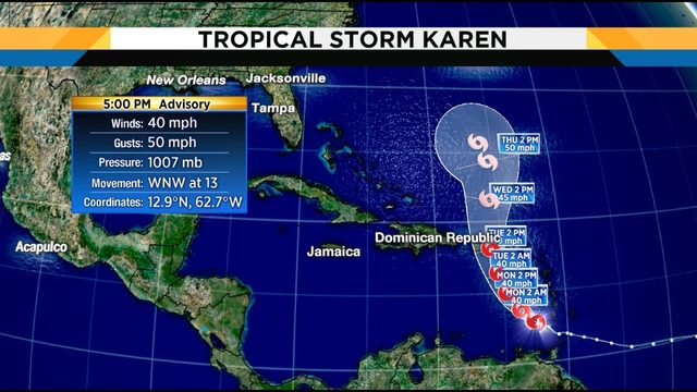 Tropical Storm Karen forms