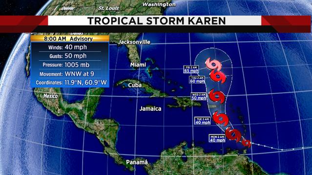 Tropical Storm Karen forms