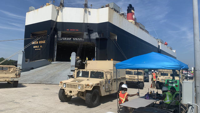 Military equipment moving through JAXPORT, heading overseas