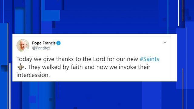 Twitter explodes after Pope hashtags Saints