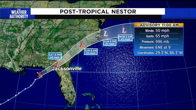 Nestor no longer a tropical storm