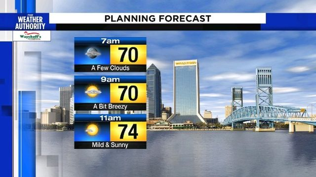 Clouds decrease throughout the morning leading into a sunny Sunday
